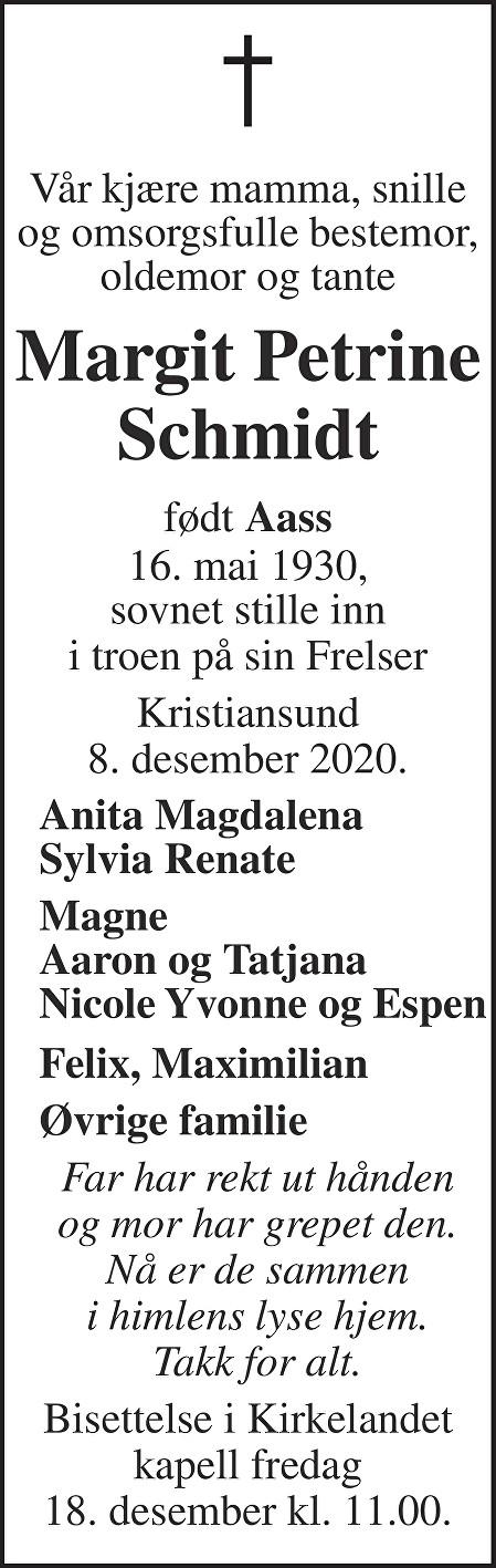 Margit Petrine Schmidt Dødsannonse