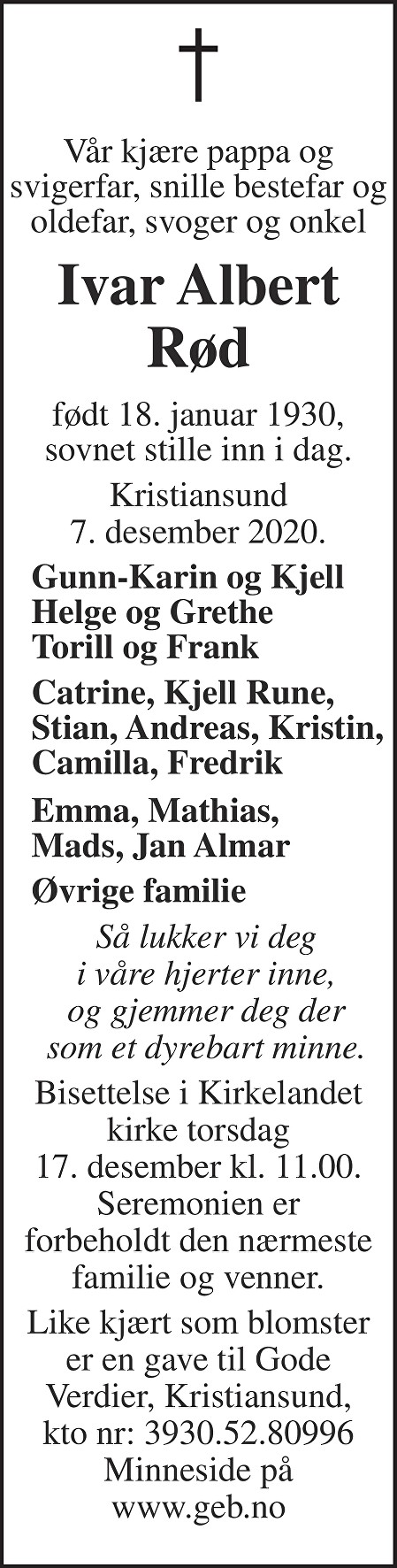 Ivar Albert Rød Dødsannonse