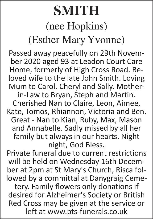 Mary Smith Death notice