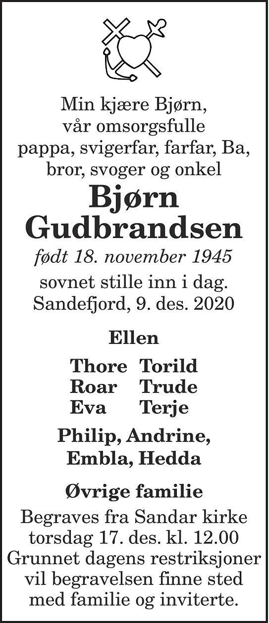 Bjørn Gudbrandsen Dødsannonse