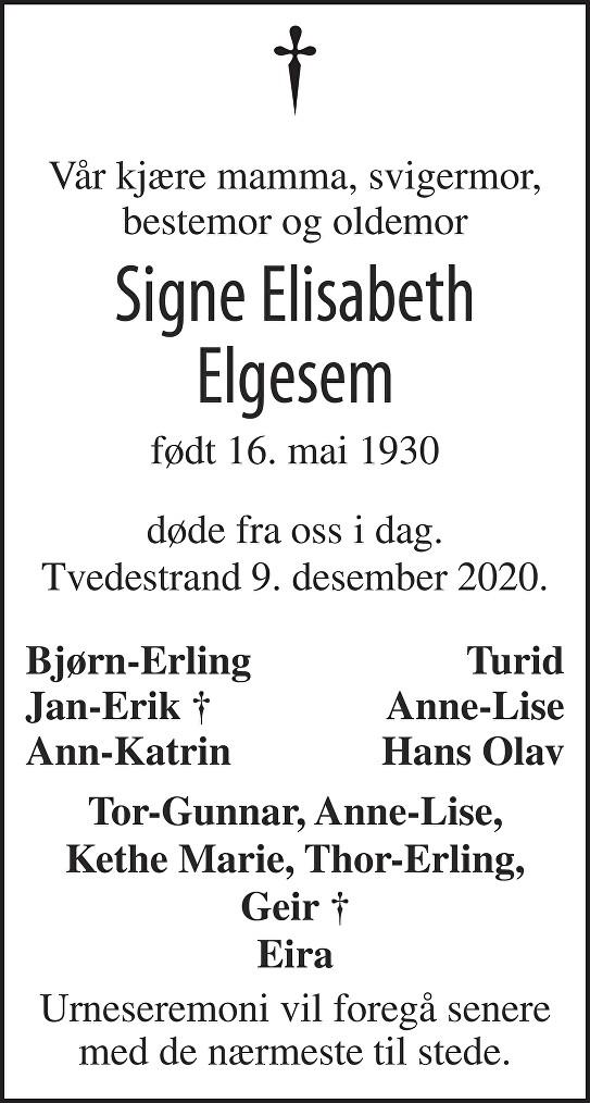 Signe Elisabeth Elgesem Dødsannonse