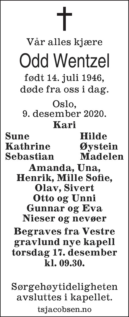 Odd Johan Wentzel Dødsannonse
