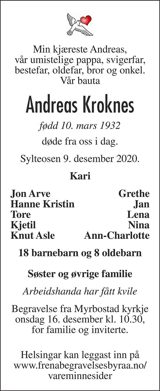 Andreas Kroknes Dødsannonse