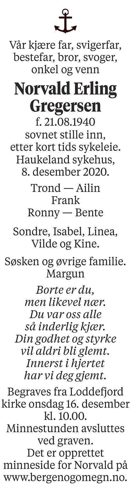 Norvald Erling Gregersen Dødsannonse