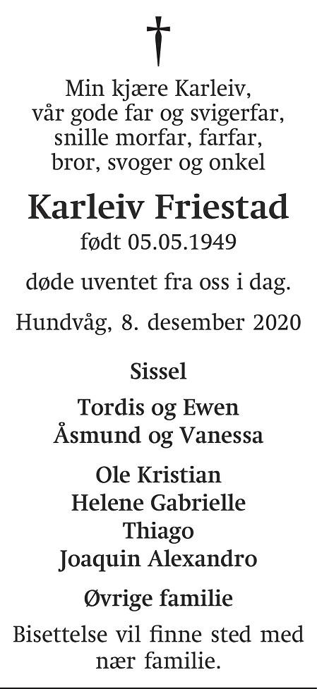 Karleiv Friestad Dødsannonse