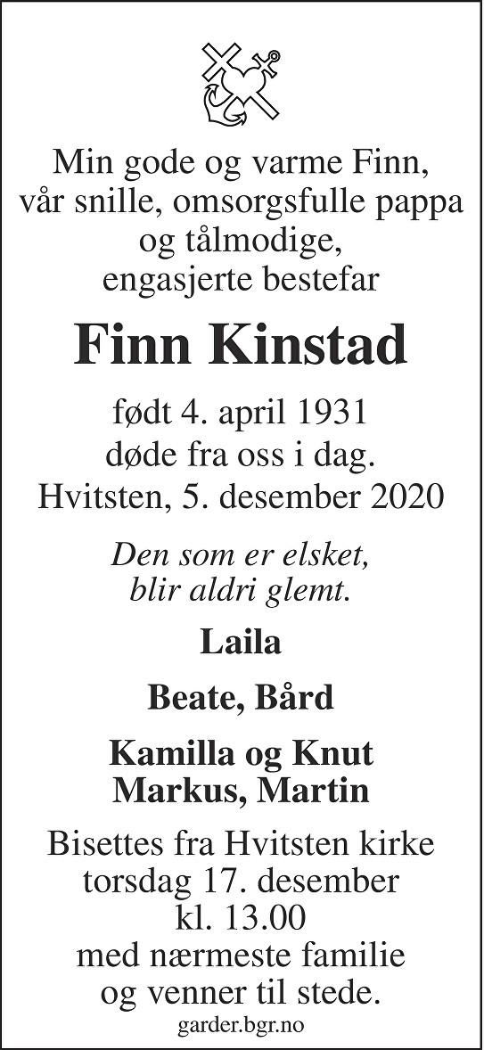 Finn Kinstad Dødsannonse