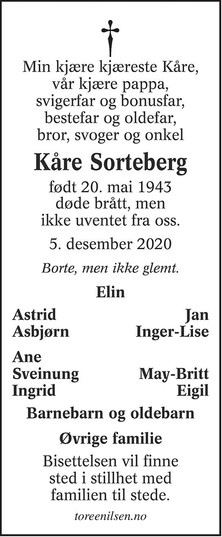 Kåre Sorteberg Dødsannonse