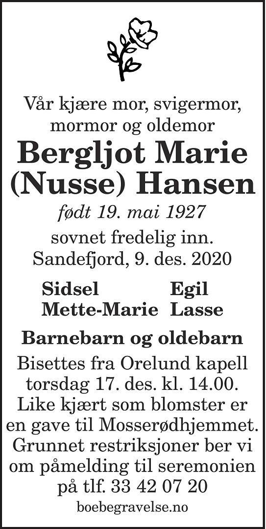 Bergljot Marie Hansen Dødsannonse