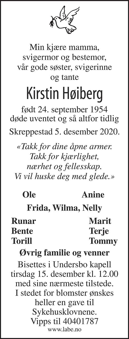 Kirstin Høiberg Dødsannonse
