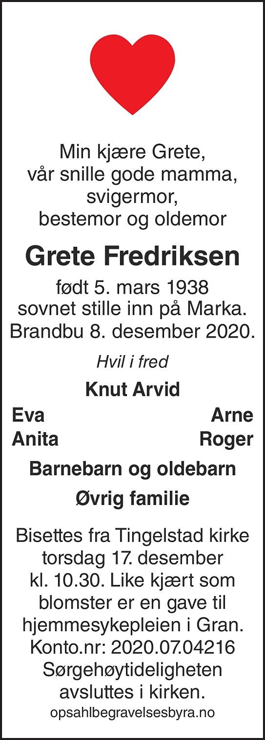 Grethe Fredriksen Dødsannonse