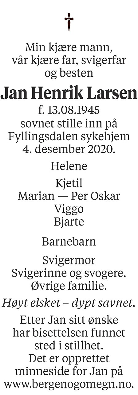 Jan Henrik Larsen Dødsannonse