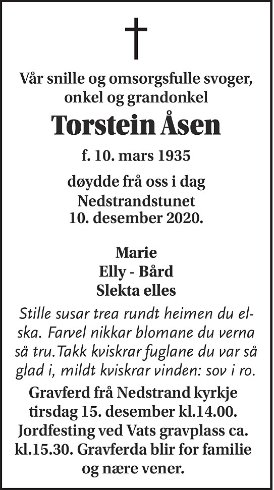 Torstein Åsen Dødsannonse