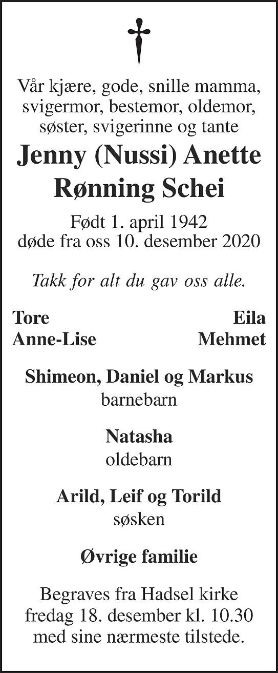 Jenny Schei Dødsannonse