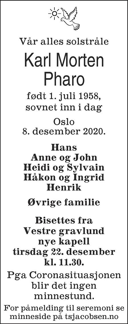 Karl Morten Pharo Dødsannonse
