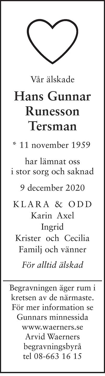 Hans Gunnar Runesson Tersman Death notice