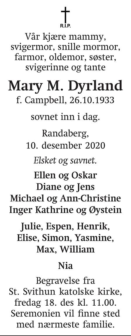 Mary M. Dyrland Dødsannonse