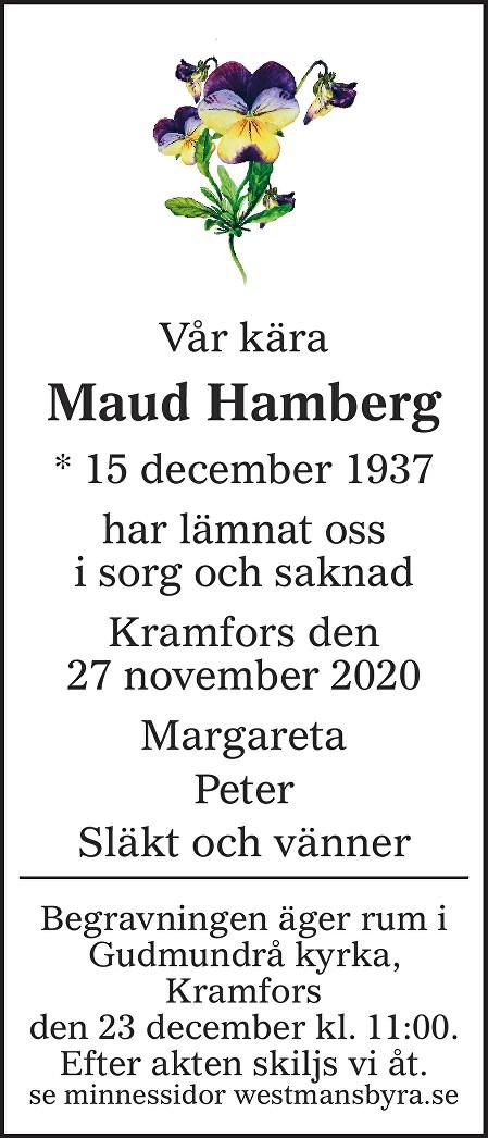 Maud Hamberg Death notice