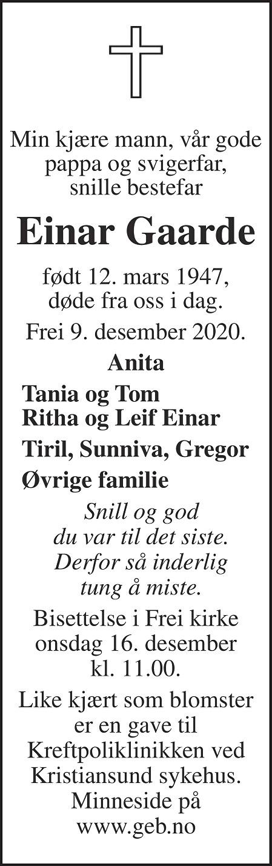 Einar Gaarde Dødsannonse