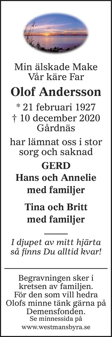 Olof Andersson Death notice
