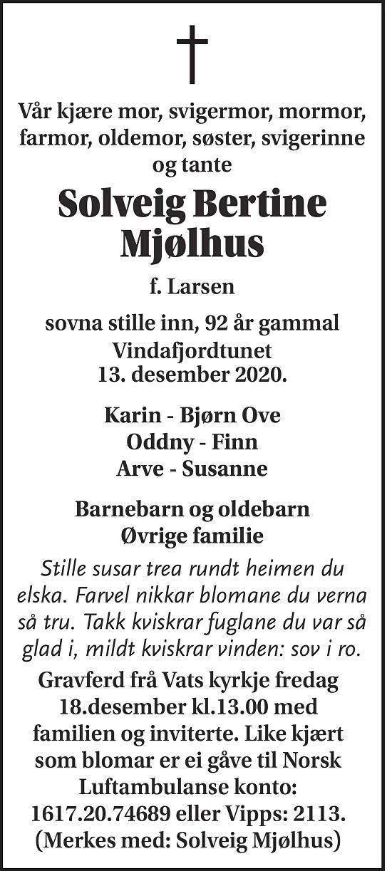 Solveig Bertine Mjølhus Dødsannonse