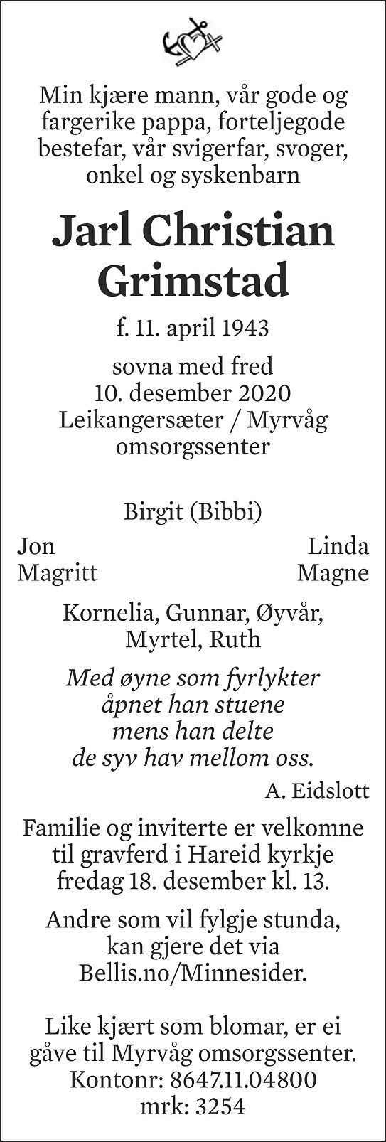 Jarl Christian Grimstad Dødsannonse