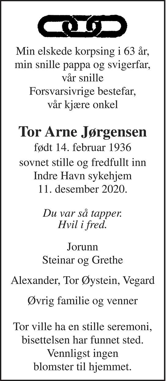 Tor Arne Jørgensen Dødsannonse