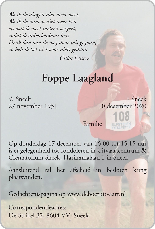 Foppe Laagland Death notice