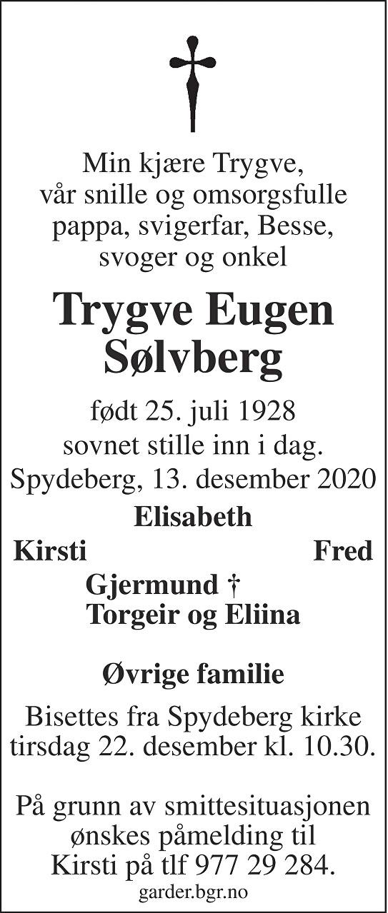 Trygve Eugen Sølvberg Dødsannonse