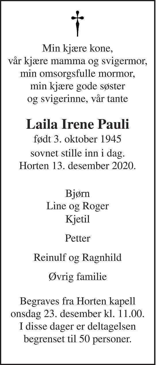 Laila Irene Pauli Dødsannonse