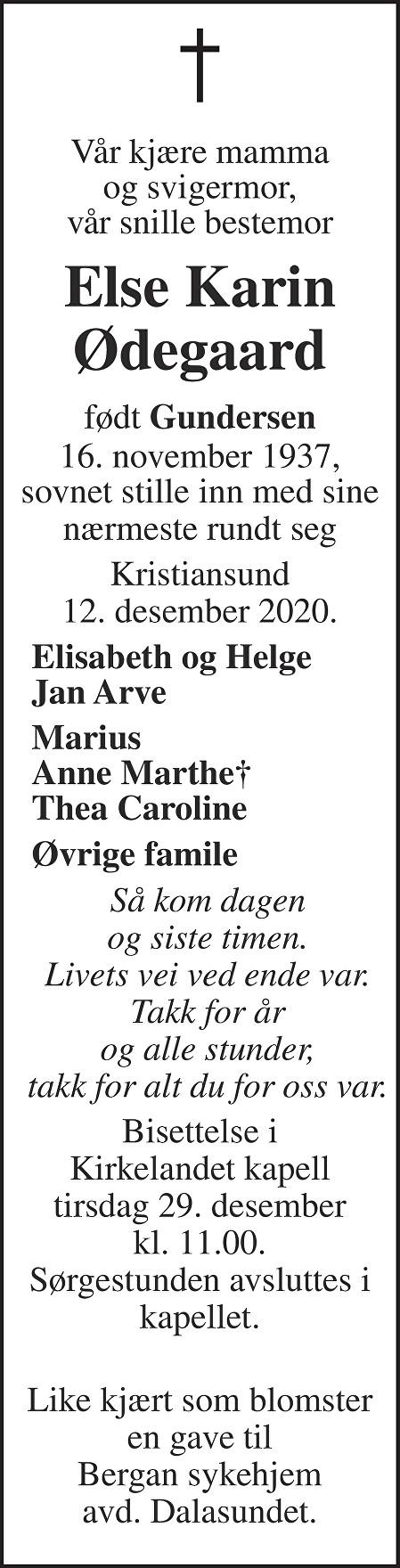 Else Karin Ødegaard Dødsannonse