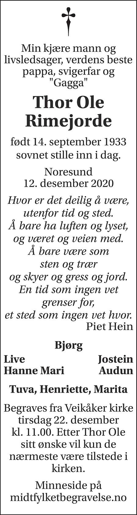 Thor Ole  Rimejordet Dødsannonse