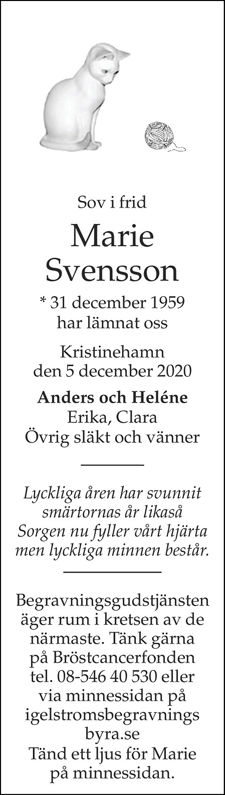 Marie Svensson Death notice