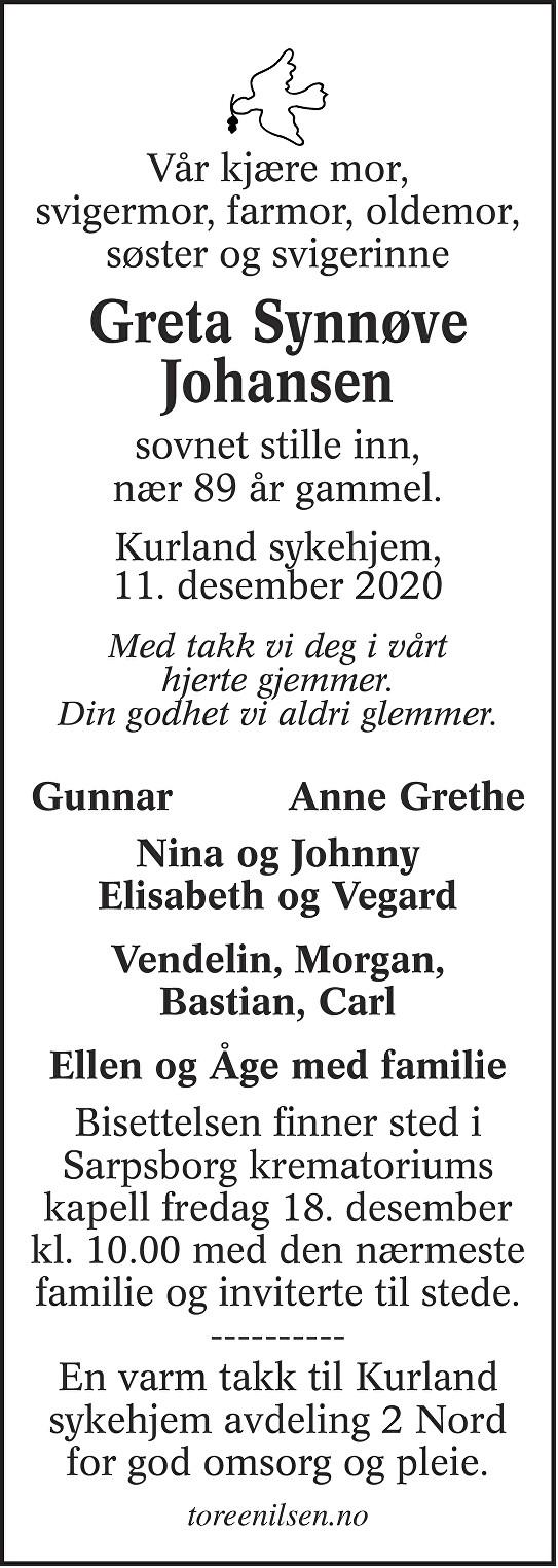 Greta Synnøve Johansen Dødsannonse