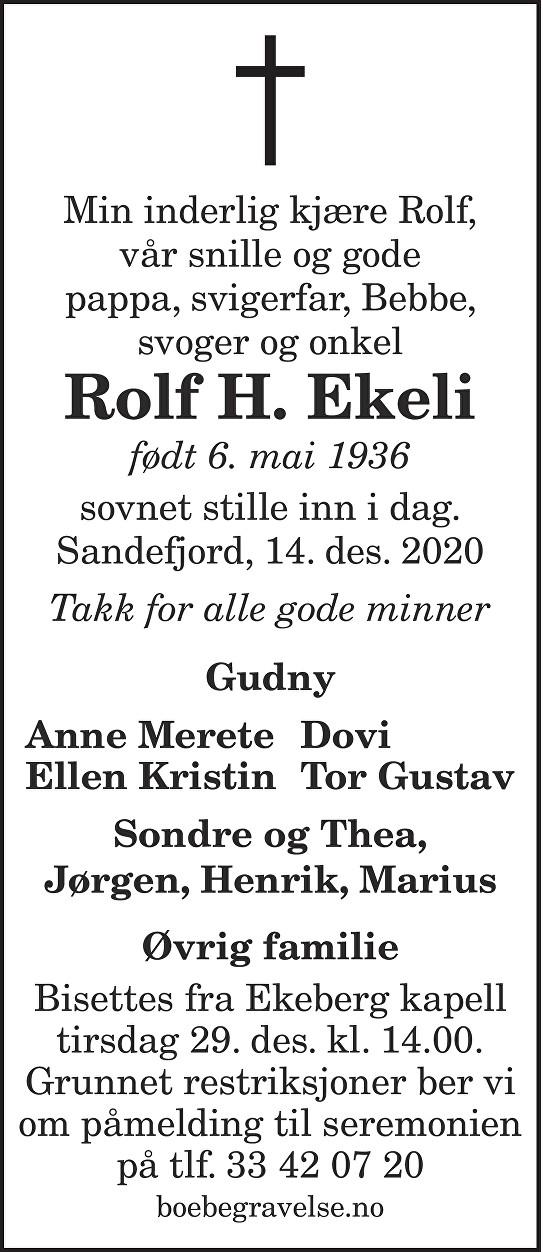 Rolf H. Ekeli Dødsannonse