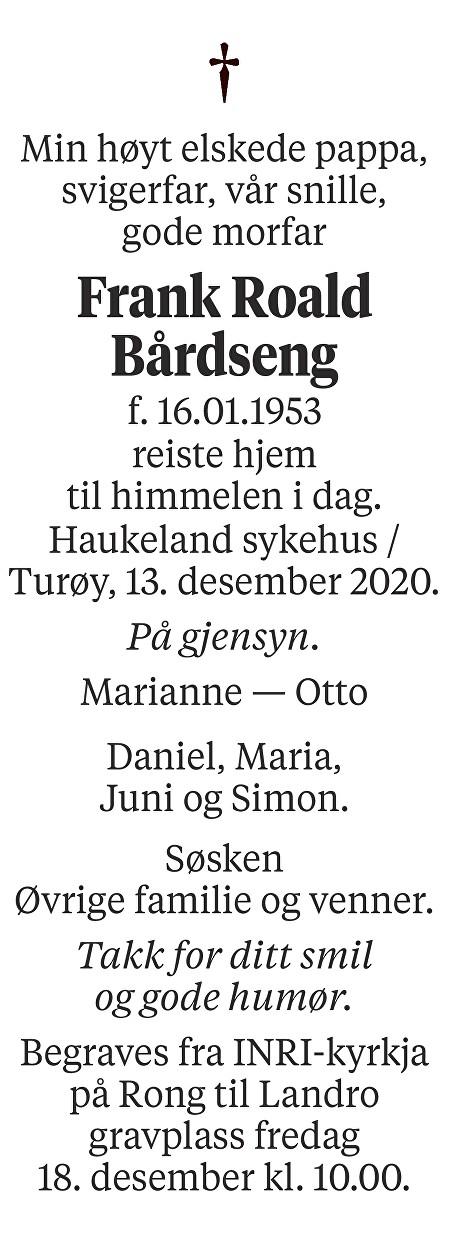 Frank Roald Bårdseng Dødsannonse