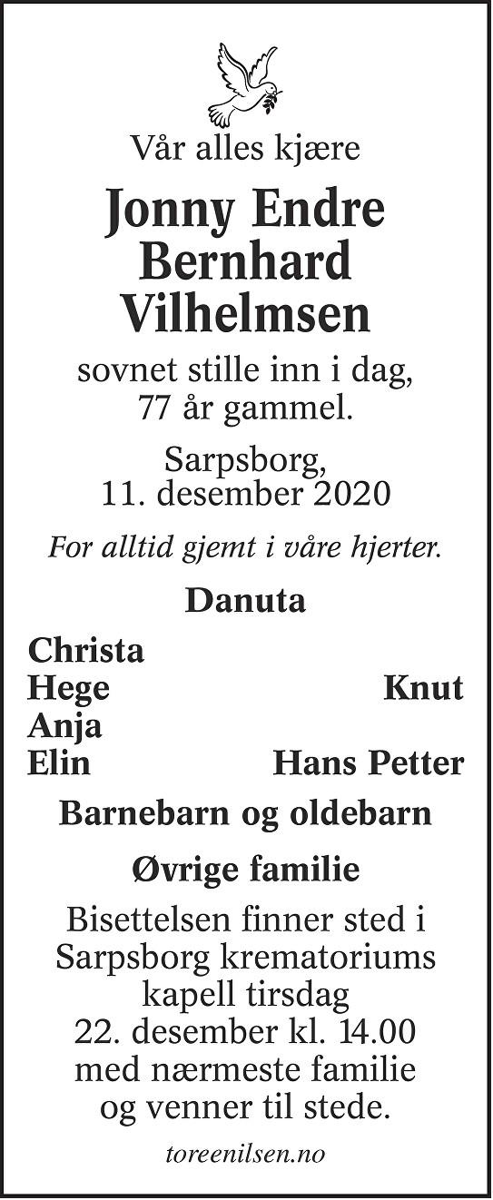 Jonny Endre Bernhard Vilhelmsen Dødsannonse