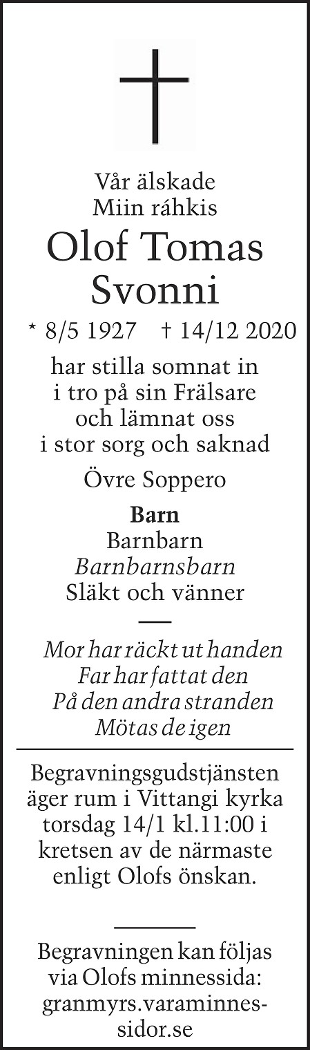Olof Tomas Svonni Death notice