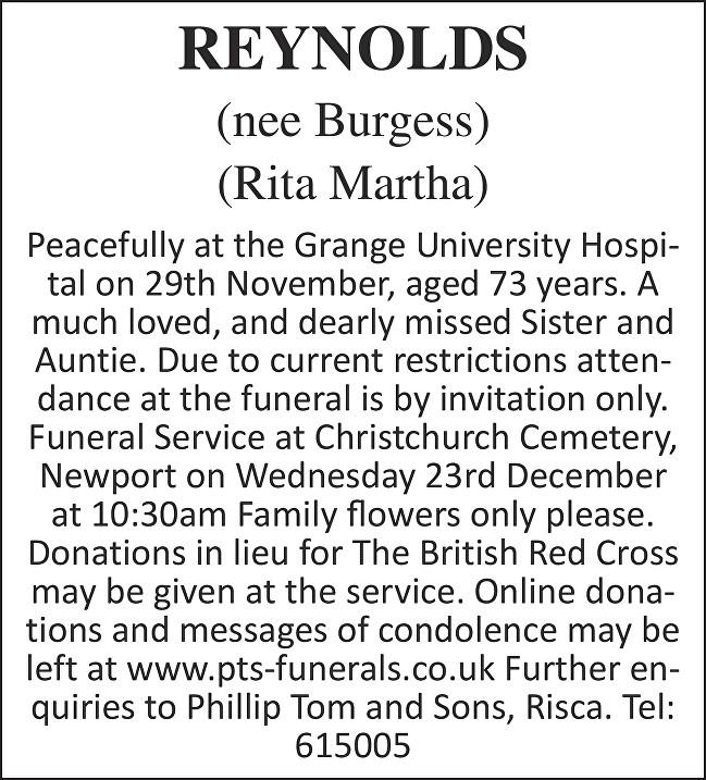 Rita Martha Reynolds Death notice