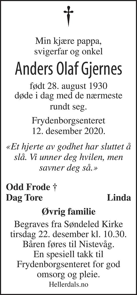 Anders Olaf Gjernes Dødsannonse