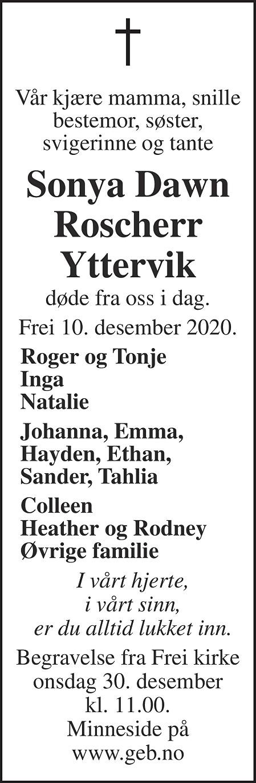 Sonya Dawn Roscherr Yttervik Dødsannonse
