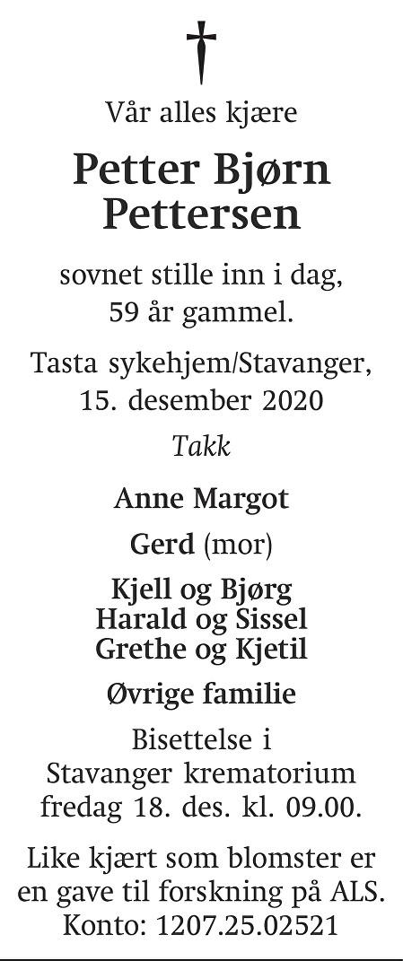Petter Bjørn  Pettersen Dødsannonse