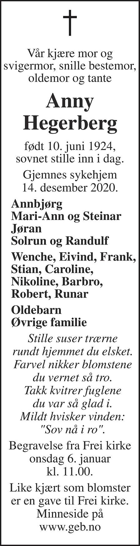 Anny Konstanse Hegerberg Dødsannonse