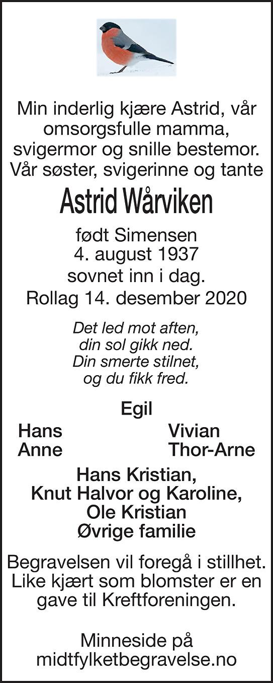 Astrid Wårviken Dødsannonse