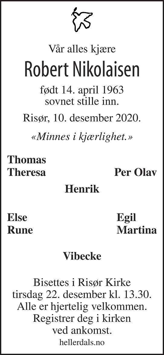 Robert Nikolaisen Dødsannonse