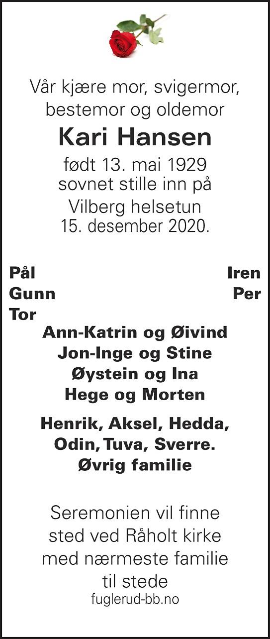 Kari Hansen Dødsannonse