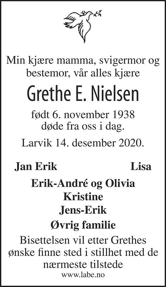 Grethe Ethel Nielsen Dødsannonse