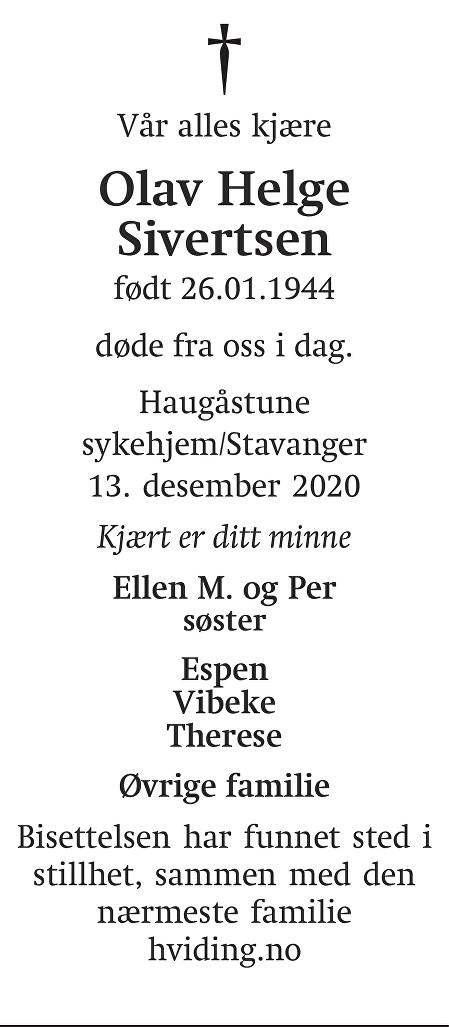 Olav Helge Sivertsen Dødsannonse