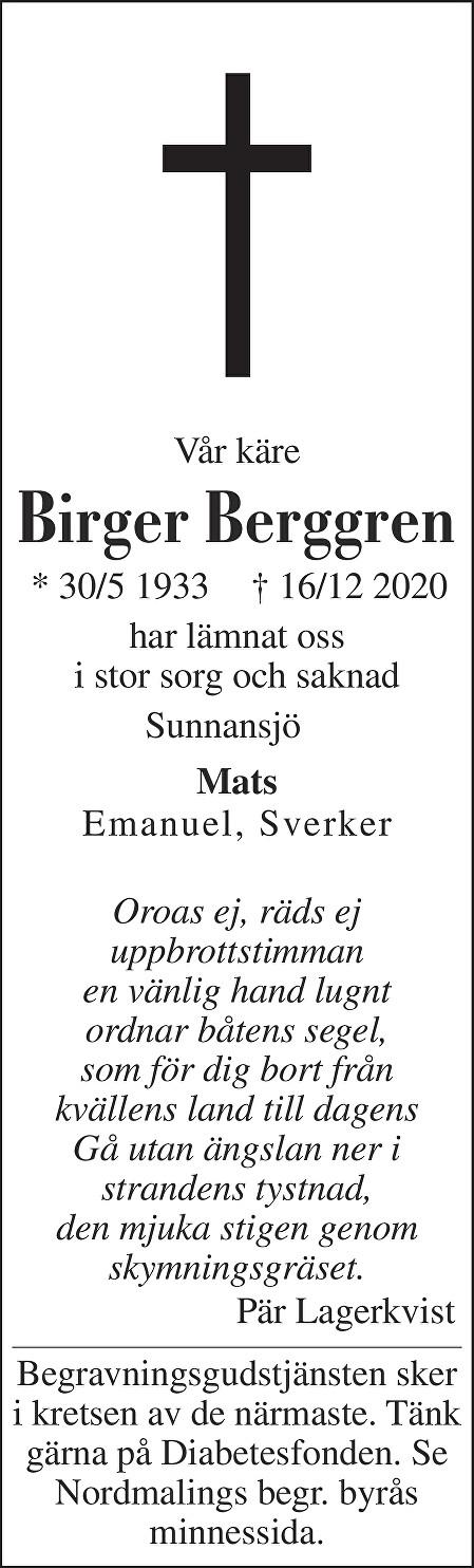 Birger Berggren Death notice