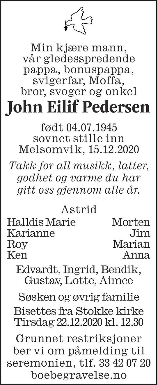 John Eilif Pedersen Dødsannonse