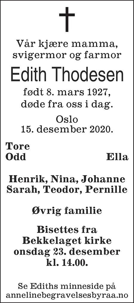 Edith Thodesen Dødsannonse